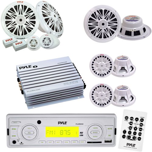 "Pyle Marine Stereo, Radio Receiver, Speaker, Subwoofer and Amplifier Package - PLMR88W AM/FM-MPX IN-Dash Marine MP3 Player/USB & SD Card Function - PLMRA400 4 Channel 400 Watt Waterproof Marine Amplifier - PLMR62 200 Watts 6.5'' 2 Way White Marine Speakers - PLMR6K 200 Watts 6.5'' 2-Way Marine Component System - PLMRW8 8"" 400 Watt White 4 Ohm Marine Subwoofer"