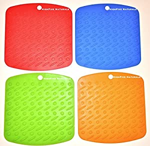 Silicone Pot Holders Premium - Trivet Hot Mat Set (4) High-Heat Resistant Hot Pads - FDA Approved Eco-Friendly Kitchen Accessories - Flexible, Durable, Non-Stick, Non-Skid - Easy To Clean
