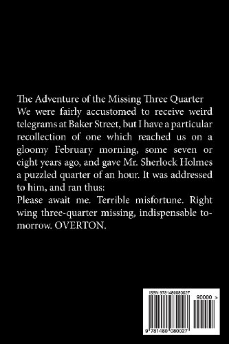 Elementary Stories Sherlock Holmes Library  Adventure the Missing Three Quarter