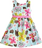 Girls Dress Blue Flower Print Children Clothing Size 2-11