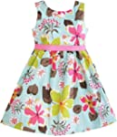 Girls Dress Blue Flower Print Childre...