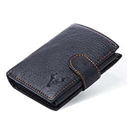 Perfectmade Cow Leather Short Snap Wallet with Coin Pocket for Men