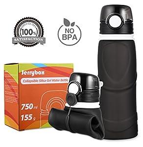 Jerrybox Bouteille d'eau Pliable en Silicone 750ml, Etanche, sans BPA, pour les activités de plein air, sports, voyages, camping, piquenique (Noir, 750ml)