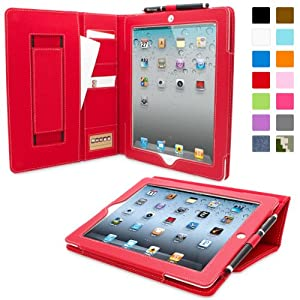 Snugg™ iPad 2 Case - Executive Smart Cover With Card Slots & Lifetime Guarantee (Red Leather) for Apple iPad 2