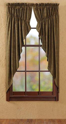 """Tea Cabin Green Plaid Prairie Curtain Lined Set Of 2 63X36X18"""""""