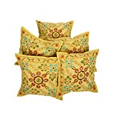 Rajrang Home Furnishing Embroidery Work Cotton Cushion Cover Set Of 5 PCs