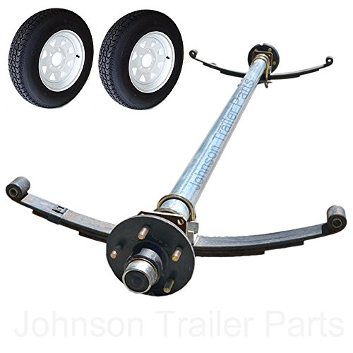 3,500 lb Trailer Idler Axle with Double Eye Springs, U-Bolts, Wheels & Tires - 73