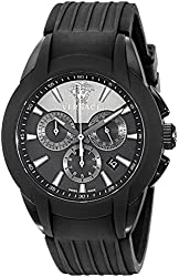 """Versace Men's M8C60D008 S009 """"Character Collection"""" Stainless Steel Watch with Black Rubber Band"""