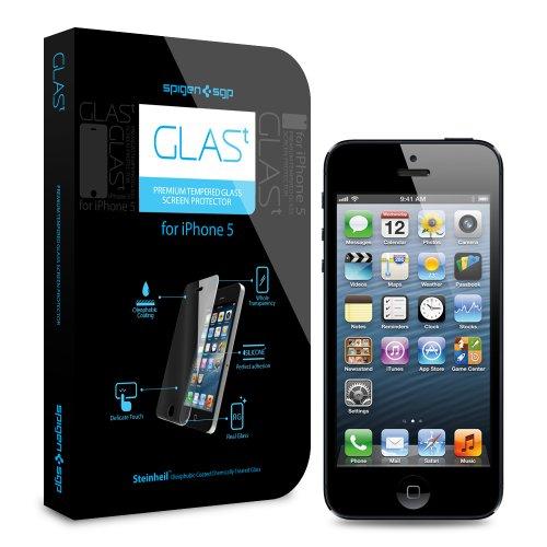 国内正規代理店品SPIGEN SGP iPhone5 シュタインハイル GLAS.t プレミアム リアル スクリーン プロテクター 強化ガラス液晶保護フィルム SGP09435