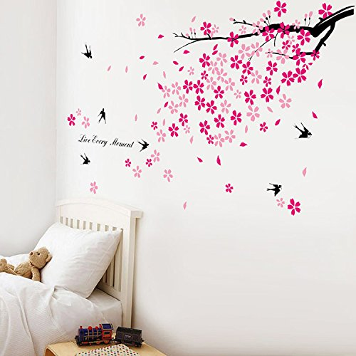 Walplus Swallows Pink Flowers Wall Stickers Art Mural Children Decor Paper
