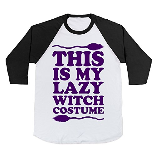 Cotton This Is My Lazy Witch Costume Baseball Tee T-Shirt