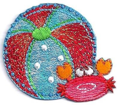Beach Ball & Sea Crab, Glittery/Iron On Embroidered Applique/Vacation, Beach