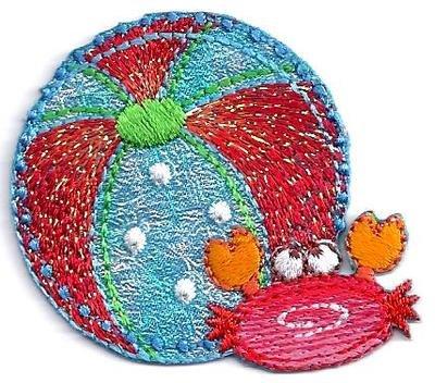 Beach Ball & Sea Crab, Glittery/Iron On Embroidered Applique/Vacation, Beach