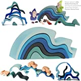 """Grimm's Large WaterWaves Stacker - Nesting Wooden Wave Blocks, """"Elements"""" of Nature: WATER"""