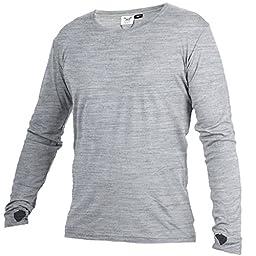 Merino 365 New Zealand 100% Merino Longsleeve Baselayer Shirt with Thumbloops, Large, Gray