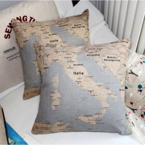 MP-01 Italy Signature Cotton Map pillow 18 x 18 Inch Linen with Pillow Inner