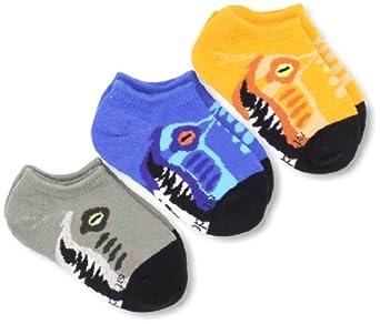 Stride Rite Little Boys' Three Pack Raptor Mouth Seamless No Show Socks, Multi, 6/7.5