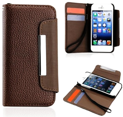 Mylife (Tm) Coffee Brown Business Design - Textured Koskin Faux Leather (Card And Id Holder + Magnetic Detachable Closing) Slim Wallet For Iphone 5/5S (5G) 5Th Generation Itouch Smartphone By Apple (External Rugged Synthetic Leather With Magnetic Clip + I