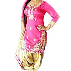 Reet Glamour Women 's Cotton Unstitched Pink And Cream Embroidered Punjabi Suit