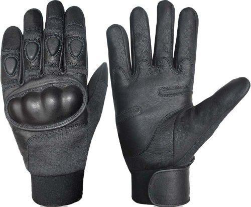 Kevlar con nocche protezione guanti in pelle nero Black m