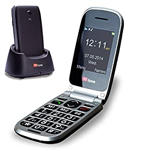TTfone Pluto Big Button Clamshell Flip Unlocked UK Sim Free Mobile Phone - Black