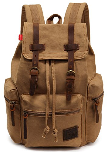 EcoCity Vintage Canvas Backpack Rucksack Schoolbag (khaki)