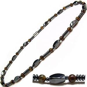 Men's Magnetic Hematite Tiger's Eye Bead Necklace 18
