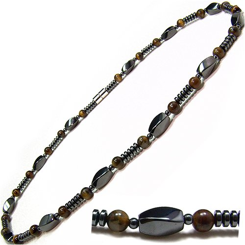 Men's Magnetic Hematite Tiger's Eye Bead Necklace, 20