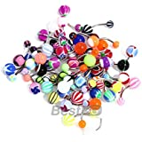 LOT 50 PIERCING DE NOMBRIL MULTI COLOR EN ACIER INOX 10MM