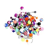 50 MIX Assorted Ball Belly Navel Barbell Bars Rings Body Piercing