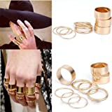 Crazycity Skull Bowknot Heart Nail Knuck Band Midi Mid Finger Tip Stacking Rings (9peices)