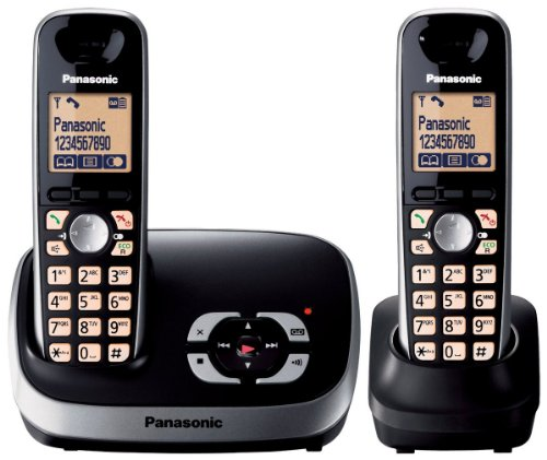 Panasonic KX-TG6522EB DECT Twin Digital Cordless Phone Set with Answer Machine - Black image