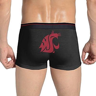 LinJin Mens Washington State University Cougars Sexy Seamless Stretchable Boxer Underwear Panty Briefs Black