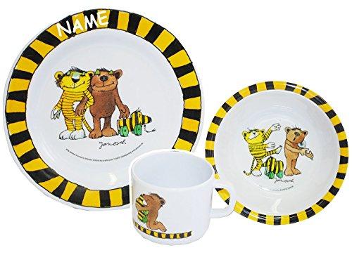 "3 tlg. Geschirrset: "" Janosch / Tigerente - Tiger & Bär ""- incl. Namen - Melamin Set - Henkelbecher + Teller + Müslischale - Kindergeschirr - Frühstücksset / für Jungen Mädchen - Frosch / Kastenfrosch"