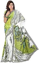 Avsar Prints Women's Faux Georgette Saree (JM5008, Green and White)