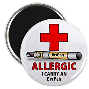 ALLERGY ALERT EPIPEN Medical 2.25 inch Fridge Magnet by Creative Clam