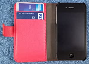 High Quality Vegan Leather Folio Wallet Case with Magnetic Enclosure and Kickstand for Apple iPhone 4 / 4S - Red