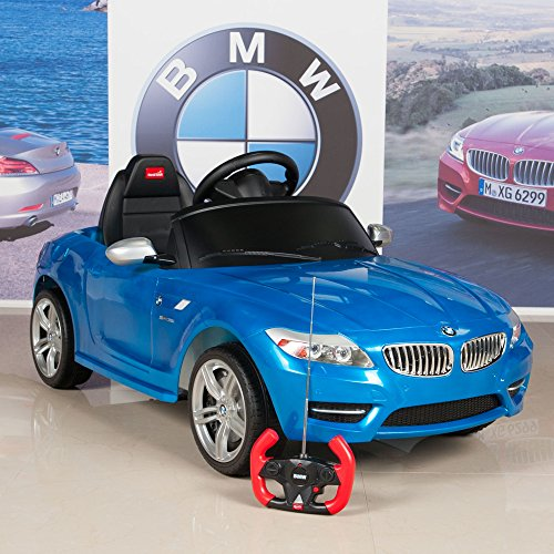 kids ride on car bmw z4 6v battery powered wheels with remote mat and keychain blue little kid cars