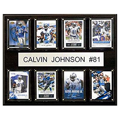 C and I Collectables NFL 15W x 12H in. Calvin Johnson Detroit Lions 8 Card Plaque