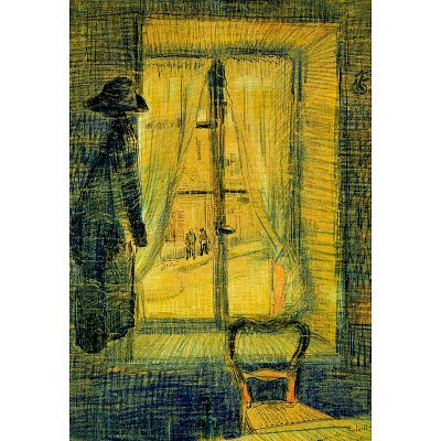 Vincent Van Gogh Window in the Bataille Restaurant ArtPoster - 13x19 custom fit with RichAndFramous Black 13 inch Poster Hangers