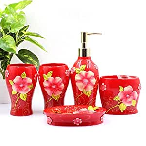 Bathroom accessory sets luxury floral red for Floral bathroom accessories set
