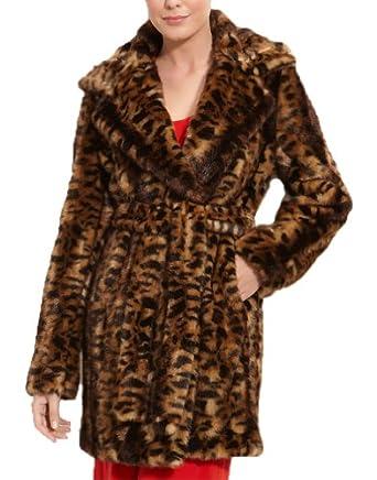 Calvin Klein Faux Fur Leopard Animal Print Wrap Coat (1X)
