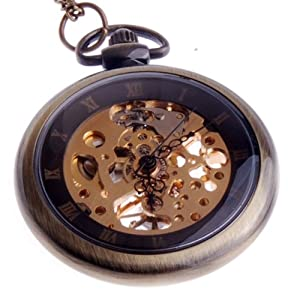 Creddeal Hand Wind Mechanical Skeleton Pocket Watch Roman Numerals Unisex Vintage Style With Gift Box PW031