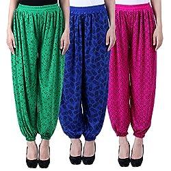 NumBrave Printed Viscose Green & Blue & Purple Harem Pants (Pack of 3)