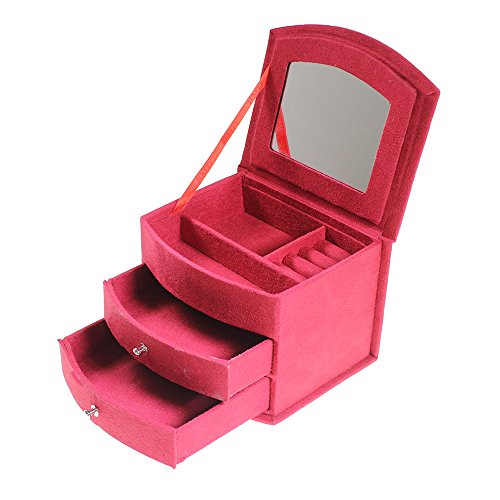 Luxury Ruby Red Suede Velvet Jewelry Jewellery Storage Box With Lid And Draws By Kurtzy Tm front-616173