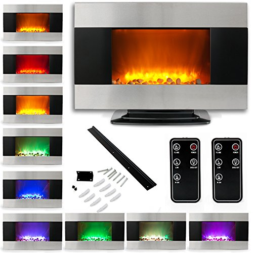 "35"" Electric Fireplace Heater 1500W Stainless Steel Color Changing Led Back Light W/ Base"