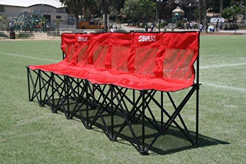 Sweat Bench - 6 Seat Folding Bench with Back - Red