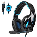 2017 Sades New Version SA902 Wired USB 7.1 Channel surround Stereo sound Gaming Headset, PC Over Ear Headphones with Microphone Noise Canceling volume Control and LED Light (Black/Blue) (Color: Black)