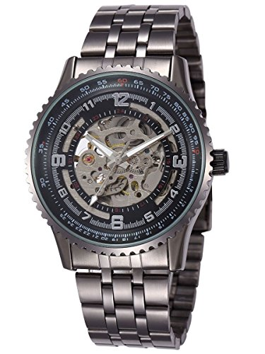 Alienwork Orologio automatico Scheletro meccanico Metallo nero nero W9500-02