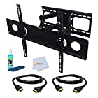 Dual Arm Articulating Wall Mount for LG 55 for 55 (55LB5900, 55LB6300, 55LA6200, 55LB7200, 55UB8200, 55LN5400, 55UB9500, 55EC9300, 55LN5600, 55LN5700, 55LA690, 55LA9650, 55LA7400, 55LM7600, 55EA8800, 55LA9700, 55LW5600, 55GA6400, 55LN5200, 55LM9600, 55LS4500, 55LS4600, 55EA9800, 55LM4700, 55G2, 55LM6700, 55UB8500, 55LA6900) Includes Dual Arm Articulating Wall Mount + 2 HDMI Cables + TV Cleaner Set
